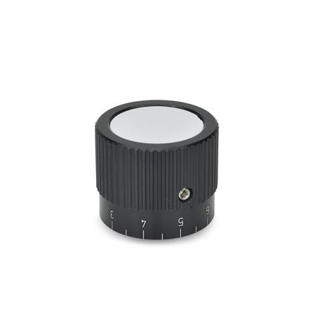 GN 726.1 Control knobs, Aluminum, black anodized Bore d<sub>2</sub> (Id. No. 1): B 10 Type: S - with scale 0...9, 20 graduations