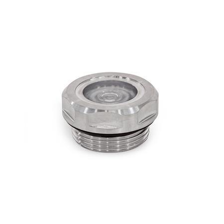 GN 7440 Edelstahl-Schaugläser, Werkstoff Nr. 1.4404 (A4), metallverschmolzen Kennziffer: 2 - Dichtung FPM (Viton©)