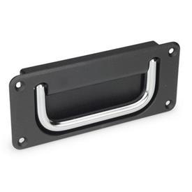 GN 425.8 Schalen-Klappgriffe Werkstoff Griff: CR - Stahl, verchromt<br />Oberfläche Schale: SW - schwarz, RAL 9005, strukturmatt