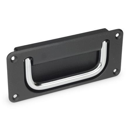 GN 425.8 Schalen-Klappgriffe Werkstoff Griff: CR - Stahl, verchromt Oberfläche Schale: SW - schwarz, RAL 9005, strukturmatt