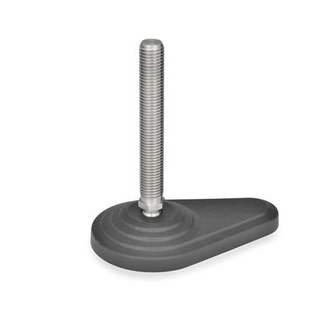 GN 445.5 Levelling feet, Plastic / Stainless Steel Type: A - without nut, without rubber pad