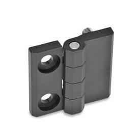 GN 237.1 Scharniere, Kunststoff Form: E - 2x Bohrungen für Zylinderschrauben / 2x Gewindestifte