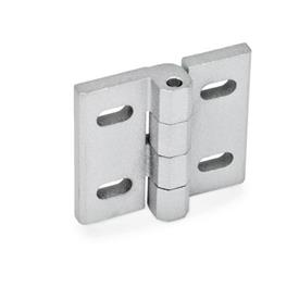 GN 235 Hinges, adjustable, Zinc die casting Material: ZD - Zinc die casting<br />Type: B - vertically adjustable<br />Finish: SR - silver, RAL 9006, textured finish