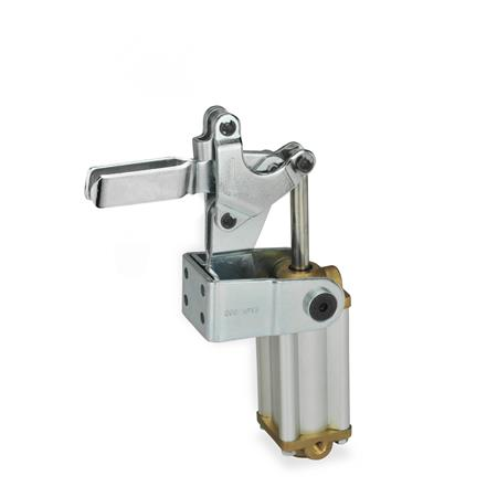 GN 862 Toggle clamps, pneumatic, with angled base, with magnetic piston Type: APV3 - U-bar version, with two flanged washers