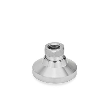 GN 343.5 Patas de nivelación, pata / rosca hembra de acero inoxidable Tipo: OS - sin tapa de plástico