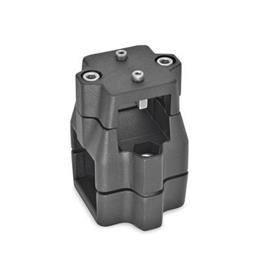 GN 135.1 Linear actuator connectors, Aluminum d<sub>1</sub> / s<sub>1</sub>: V - Square<br />d<sub>2</sub> / s<sub>2</sub>: V - Square