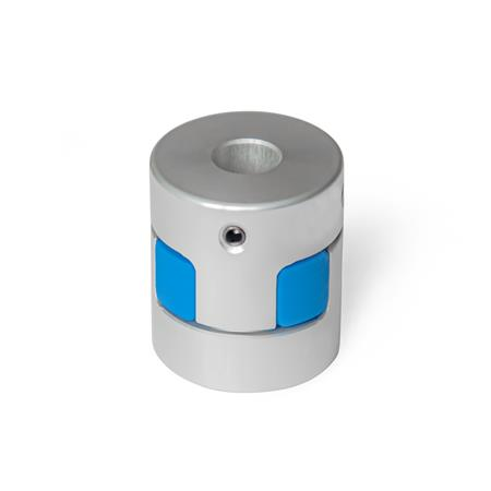 GN 2241 Elastomer Jaw Couplings with Grub Screw Bore code: B - Without keyway Hardness: BS - 80 Shore A, blue