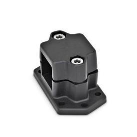 GN 147.3 Abrazaderas de conexión embridadas, aluminio d<sub>1</sub> / s: V - Orificio cuadrado<br />Acabado: SW - negro, RAL 9005, acabado texturado