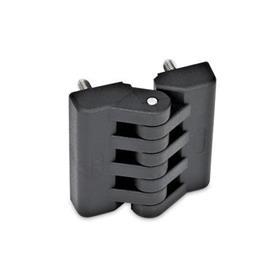 GN 151 Scharniere, Kunststoff Form: D - 2x2 Gewindestifte