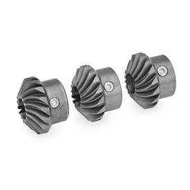 GN 297 Kegelräder für Linear- / Übertragungseinheiten, Stahl Form: T - Kegelradsatz, 3 Kegelräder, 1 x rechtssteigend, 2 x linkssteigend