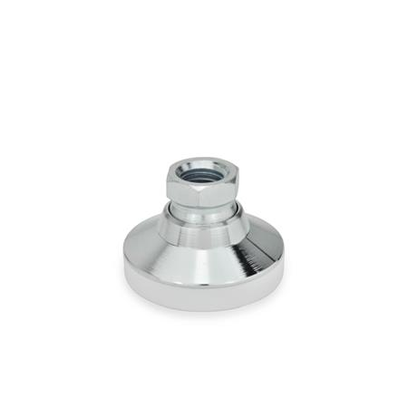 GN 343.1 Levelling feet, female thread steel  Type: KS - with plastic cap, gliding