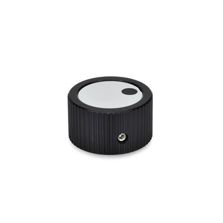 GN 726 Drehknöpfe, Aluminium, schwarz eloxiert Form: M - Deckel mit Markierung Kennziffer: 1 - mit Druckschraube