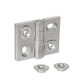 GN 127 Stainless Steel-Hinges, adjustable Material: A4 - Stainless Steel<br />Type: HB - vertically and horizontally adjustable