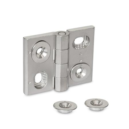 GN 127 Stainless Steel-Hinges, adjustable Material: A4 - Stainless Steel Type: HB - vertically and horizontally adjustable
