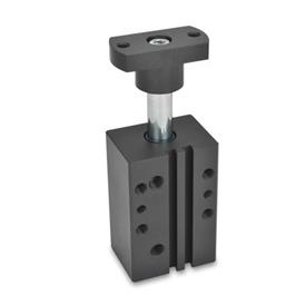 GN 875 Swing clamps, pneumatic, in block version Type: F - Adapter flange