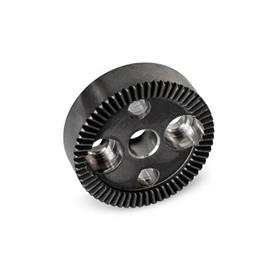 GN 187.4 Serrated Locking Plates, Sintered Steel Type: B - With drilling in the center, with two countersunk holes for cap screws