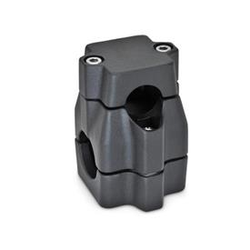 GN 135 Kreuz-Klemmverbinder, mehrteilig, ungleiche Bohrungsmaße d<sub>1</sub> / s<sub>1</sub>: B - Bohrung<br />d<sub>2</sub> / s<sub>2</sub>: B - Bohrung<br />Oberfläche: SW - schwarz, RAL 9005, strukturmatt