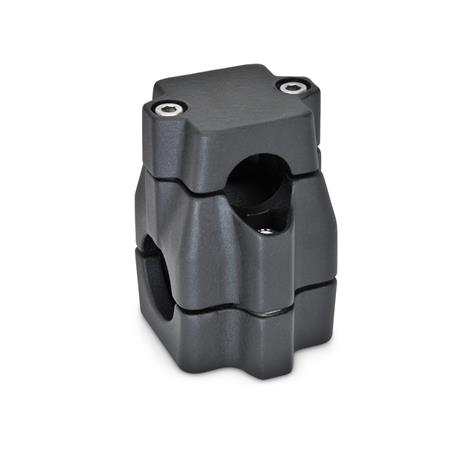 GN 135 Two-way connector clamps, multi part assembly, unequal bore dimensions d<sub>1</sub> / s<sub>1</sub>: B - Bore d<sub>2</sub> / s<sub>2</sub>: B - Bore Finish: SW - black, RAL 9005, textured finish