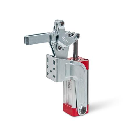 GN 862 Toggle Clamps, Pneumatic, with Angled Base Type: APV - Forked clamping arm, with two flanged washers