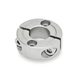 GN 7072.2 Split Stainless Steel-Shaft collars, with flange holes Type: B - with two countersunk holes for socket cap screws