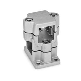 GN 141 Flanged two-way connector clamps, multi part assembly Finish: BL - blank
