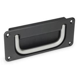 GN 425.8 Empuñaduras abatibles tipo cubeta Material empuñadura: NI - Acero inoxidable<br />Acabado de cubeta: SW - negro, RAL 9005, acabado texturado