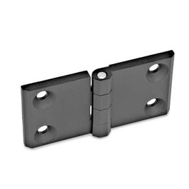 GN 237 Hinges, horizontally elongated, zinc die casting Werkstoff: ZD - Zinc die casting<br />Type: A - 2x2 bores for countersunk screws<br />Finish: SW - black, RAL 9005, textured finish<br />Hinge wings: l3 = l4 - elongated on both sides