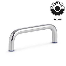 GN 429 Empuñaduras de estribo de acero inoxidable, de diseño higiénico Form: PL - pulido (Ra < 0,8 µm)<br />Material (anillo de sellado): H - Caucho butadieno acrilonitrilo hidrogenado