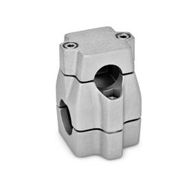 GN 135 Two-Way Connector Clamps, multi part assembly, unequal bore dimensions Finish: BL - Plain, Matte shot-blasted