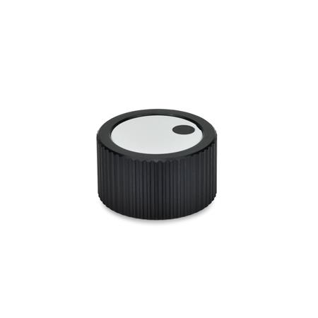 GN 726 Control knobs, Aluminum, black anodized Bore d<sub>3</sub> (Id. No.2): Z 10 Type: M - Cover with indicator point