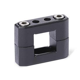 GN 231 Abrazaderas para tubos, aluminio d<sub>1</sub> / s<sub>1</sub>: V - Orificio cuadrado<br />Acabado: SW - negro, RAL 9005, acabado texturado
