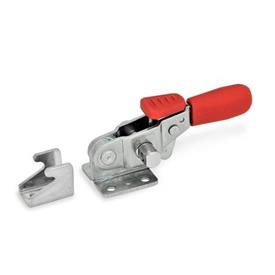 GN 851.3 Stainless Steel-Horizontal latch type toggle clamps, with safety hook, with pulling action Type: T - without U-bolt latch, with catch<br />Material: A4 - Stainless Steel