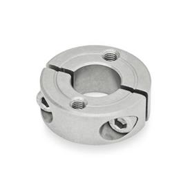 GN 7072.2 Split Stainless Steel-Shaft collars, with flange holes Type: C - with two tapped holes