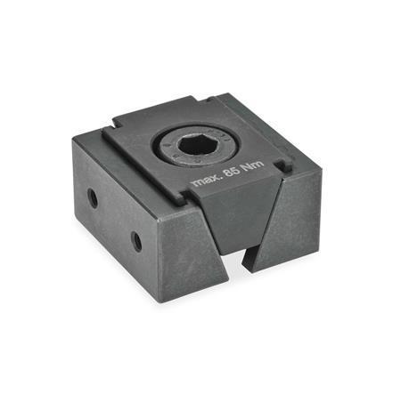 GN 920.1 Keilspanner, Stahl Form: GA - mit 2 Befestigungsgewinden für Aufsatzbacken