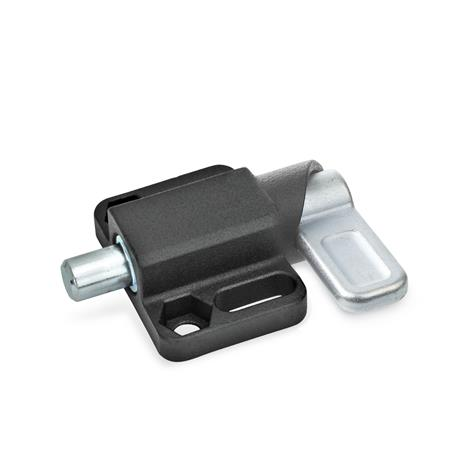 GN 722.3 Spring Latches with Flange for Surface Mounting, Parallel to the Plunger Pin Type: L - Left indexing cam Finish: SW - Black, RAL 9005, textured finish