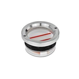 GN 537 Ölschaugläser, Aluminium / Plexiglas Form: B - mit Ölstandsbegrenzung