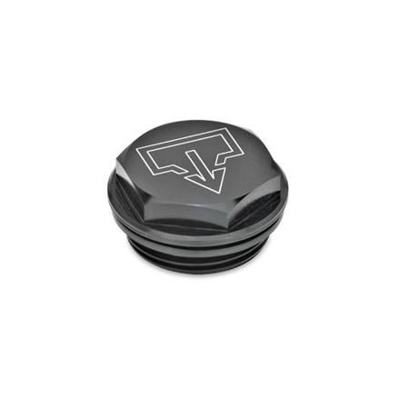 GN 741 Threaded plugs with and without symbols, Aluminium, resistant up to 100 °C, black anodized Type: ASS - with DIN drain symbol, black anodized Identification no.: 1 - without vent drilling