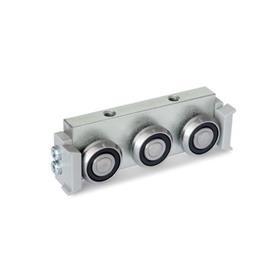 GN 2424 Rollenläufer Form: R - Radial-Rollenläufer, seitliche Anordnung<br />Ausführung: U - mit Abstreifer für Loslager-Laufschiene (U-Schiene)