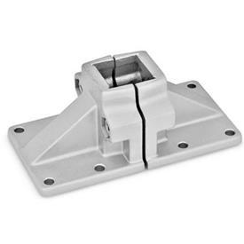 GN 167 Wide base plate connector clamps, Aluminum d<sub>1</sub> / s: V - Square<br />Finish: BL - Plain, Matte shot-blasted
