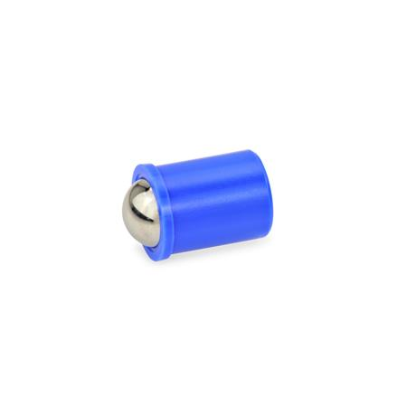 GN 614 Spring plungers, press on type, with ball Material: KU - Plastic Housing and Stainless Steel Ball