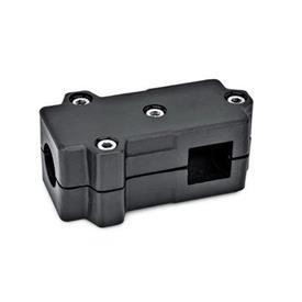 GN 193 Abrazaderas de conexión en ángulo, aluminio d<sub>1</sub> / s<sub>1</sub>: B - Orificio redondo<br />d<sub>2</sub> / s<sub>2</sub>: V - Orificio cuadrado<br />Acabado: SW - negro, RAL 9005, acabado texturado