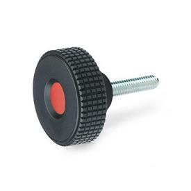 GN 534 Knurled screws, Plastic, cover cap red