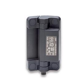 GN 239.6 Charnières inox avec contacteur de sécurité et connecteur, plastique Type: BS - Connecteur par le dessous