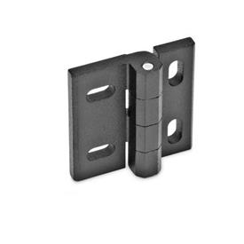 GN 235 Hinges, adjustable, Zinc die casting Material: ZD - Zinc die casting<br />Type: HB - vertical and/or horizontal adjustable<br />Finish: SW - black, RAL 9005, textured finish