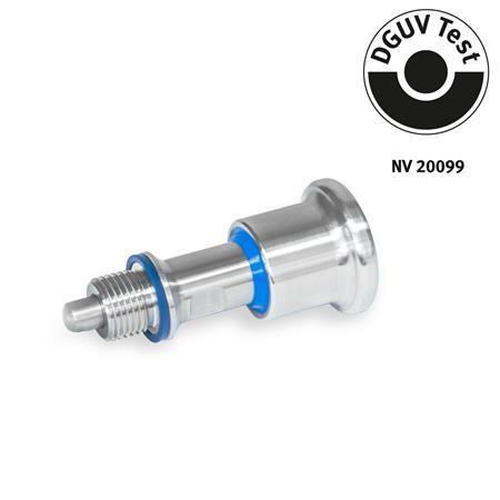 GN 8170 Doigts d'indexage en inox, conception hygiénique côté bouton (hygiène frontale) Type: B - sans position de repos Identification: FH - Conception hygiénique côté bouton (hygiène frontale)