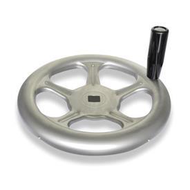 GN 228 Handräder, aus Edelstahlblech Werkstoff: A4 - Edelstahl<br />Bohrungskennzeichnung: V - mit Vierkant<br />Form: D - mit drehbarem Griff