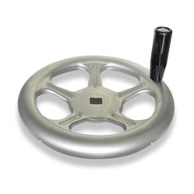 GN 228 Handwheels, made of stainless sheet steel Material: A4 - Stainless Steel<br />Bore code: V - with square<br />Type: D - with revolving handle