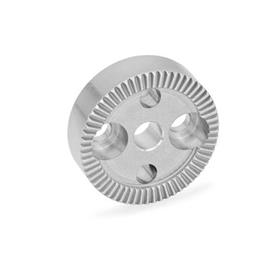 GN 187.4 Serrated Locking Plates, Stainless Steel Type: B - With drilling in the center, with two countersunk holes for cap screws