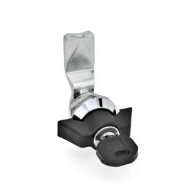 GN 115 Verriegelungen, abschließbar, verchromt Werkstoff: ZD - Zink-Druckguss<br />Form: SCK - Betätigung mit Knebel (Schloss einheitlich)