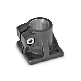 GN 163 Base plate connector clamps, Aluminum Finish: SW - black, RAL 9005, textured finish